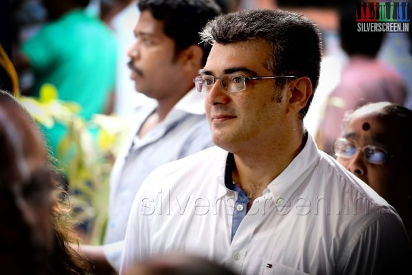 Actor Ajith Kumar and wife Shalini vote in the Lok Sabha Elections 2014