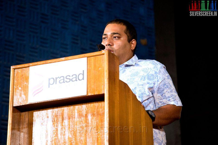 Producer CV Kumar at the Mundasupatti Press Meet