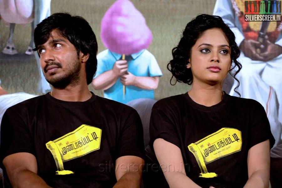 Actress Nandita and Actor Vishnu Vishal at the Mundaasupatti Press Meet