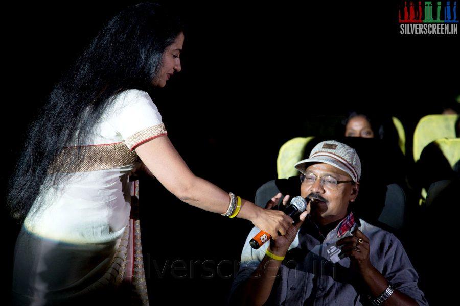 Actress Suhasini Mani Ratnam and K Bhagyaraj at the Sathuranga Vettai Audio Launch