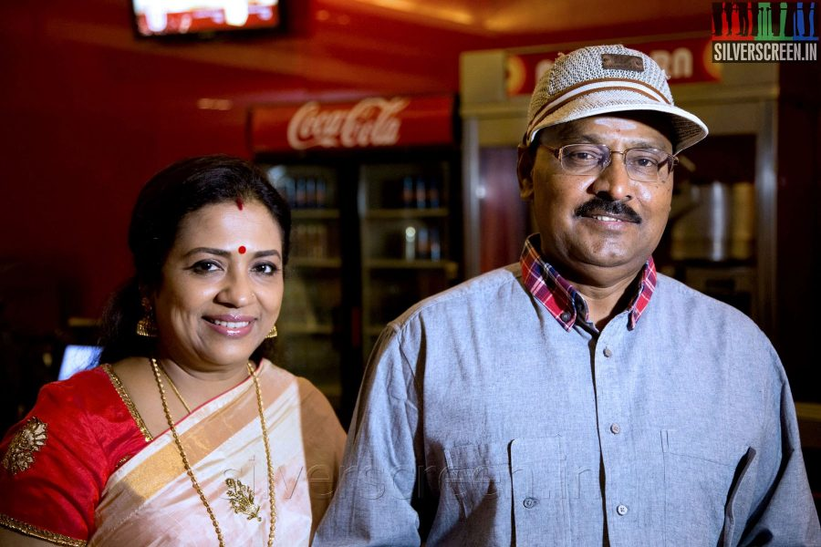 Actress Poornima Jayaram and K Bhagyaraj at the Sathuranga Vettai Audio Launch