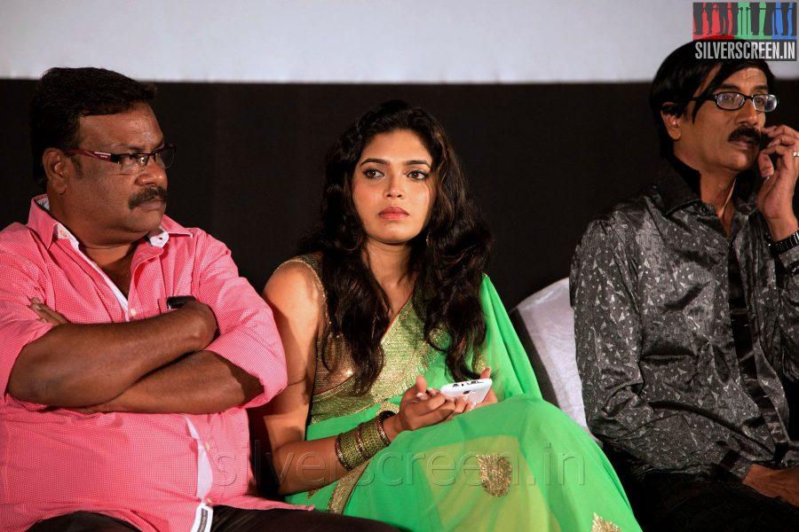Ilavarasu, Manobala and Actress Ishara at the Sathuranga Vettai Audio Launch