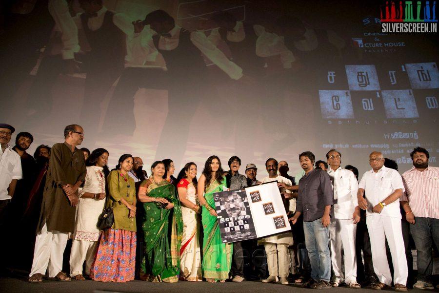 Actress Ishara at the Sathuranga Vettai Audio Launch