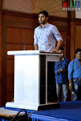 Actor Aadhav Kannadasan at the Yaamirukka Bayamey Success Meet