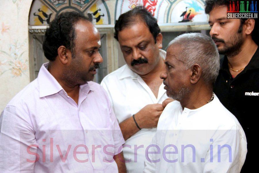 Music Director Ilaiyaraaja at Director Ramanarayanan's Funeral