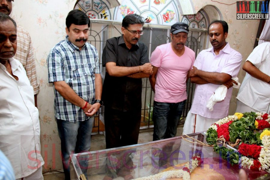 Actor Powerstar Srinivasan at Director Ramanarayanan's Funeral