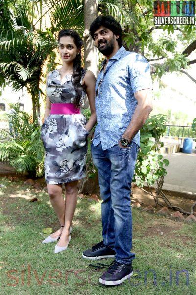 Actor Naveen Chandra and Salony Luthra at the Sarabham Press Meet