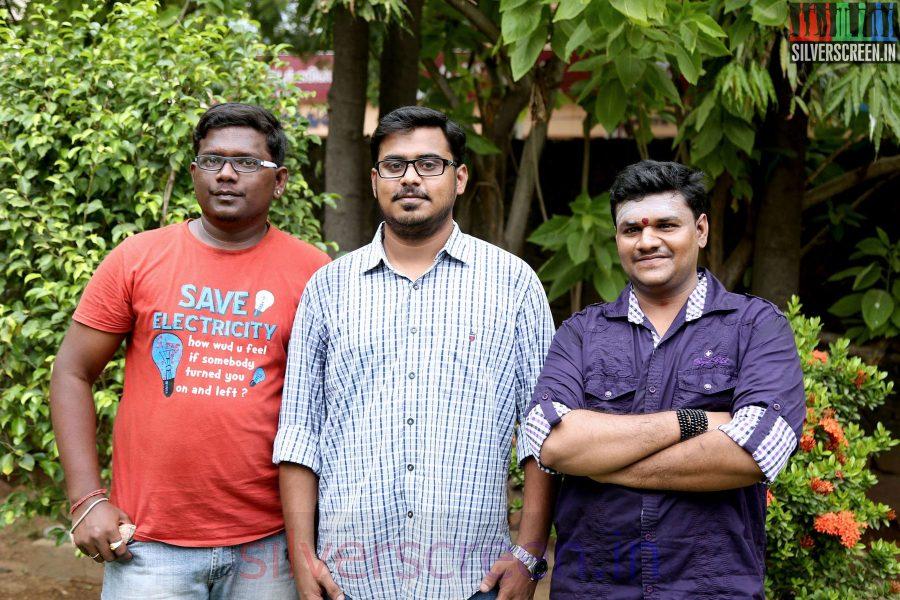Music Director Britto Michael , Lyricist GKB and Kurinji Prabha at the Sarabham Press Meet
