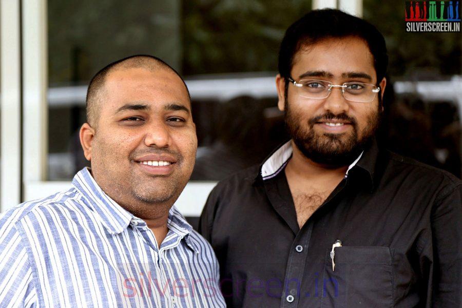 Producers Abinesh Elangovan and CV Kumar at the Sarabham Press Meet