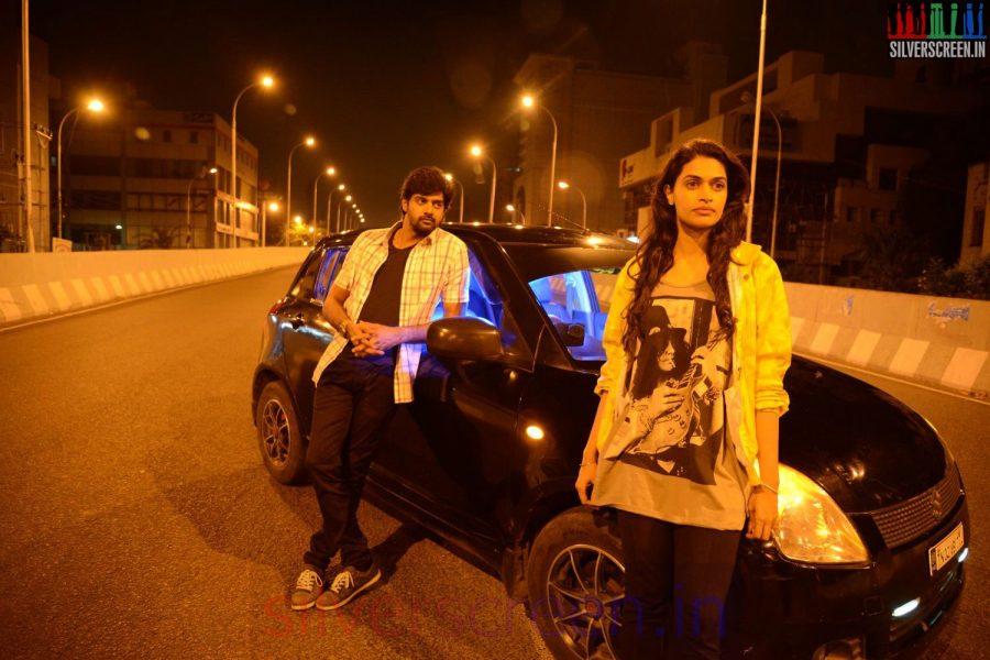Actor Naveen Chandra and Salony Luthra in Sarabham Movie Stills