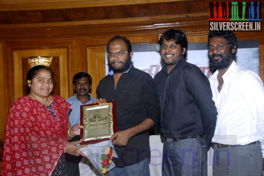 Actor Vijay Vasanth, Director P Rajapandi and Producer V Vinoth Kumar at Sigandi (Or Sikandi) Press Meet