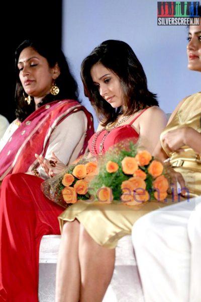 Actress Vishakha Singh, Devadarshini and Nushrat Bharucha at Valeba Raja (Or Vaaliba Raja) Audio Launch