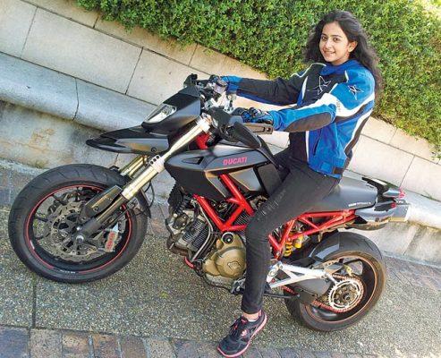 Rakul Preet Singh on a bike