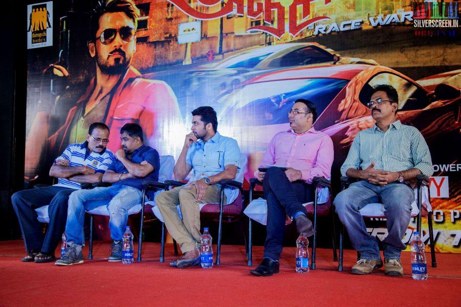 Actor Suriya, Director N Lingusamy, Producer G Dhananjayan and Screenplay Writter Brinda Sarathy at Anjaan Race Wars Game Launch Stills
