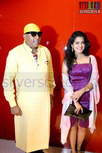 Actress Vishakha Singh and Sivamani (Music Director) at the Arima Nambi Movie Premiere