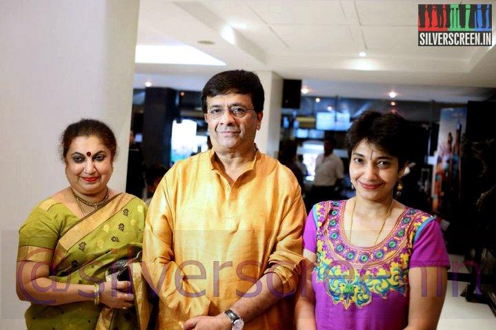 Actor YG Mahendran and Maduvanthi Arun at Ramanujan Movie Premiere