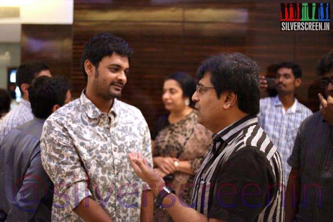 Actor Vivek and Abjinay Vaddi at Ramanujan Movie Premiere