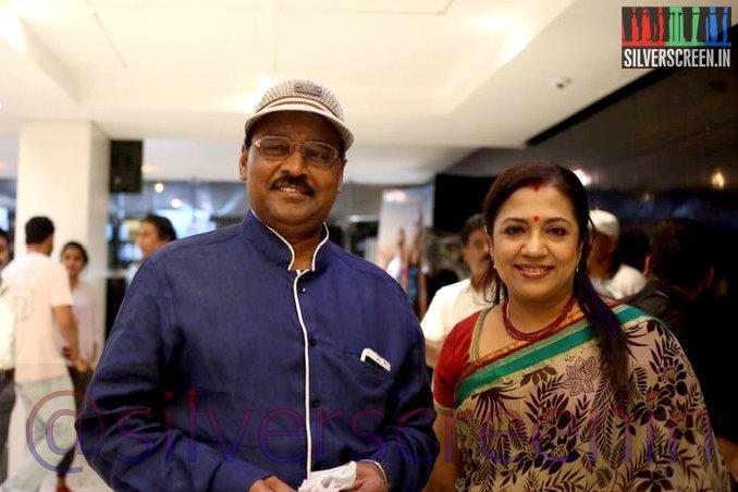 Actor K Bhagyaraj and Poornima Bhagyaraj at Ramanujan Movie Premiere
