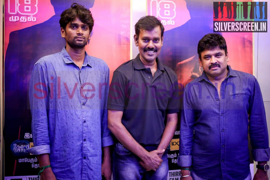Actor Natarajan Subramaniam, Director H Vinoth and Producer Subash Chandrabose at Sathuranga Vettai Press Show