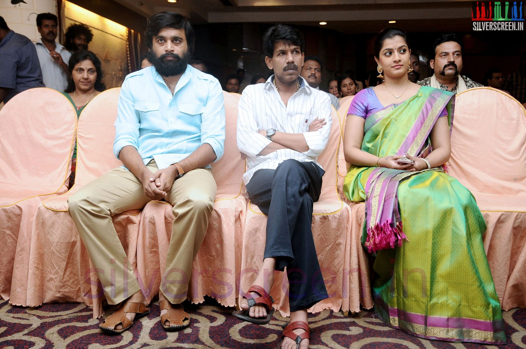 Director Bala Actor Sasikumar And Actress Varalaxmi Sarathkumar At Tharai Thappattai Or Thaarai Thappatai Movie Launch Pooja Event