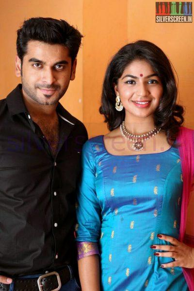 Actress Sudhakshina and Actor Adil Ibrahim at Thirunthuda kadhal Thiruda Audio Launch Function