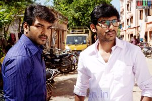 Actor Jai and RJ Balaji in Vadacurry Movie Stills