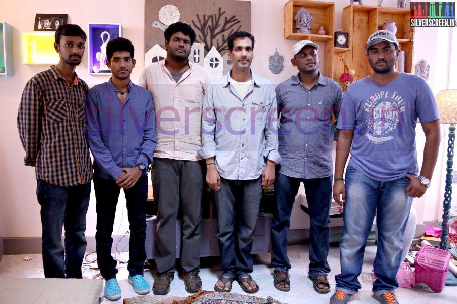 Music Director Nivas K Prasanna, Art Director Rajamohan and Director V Arun Kumar at Zero Movie Shooting Spot (Or On Location) Stills