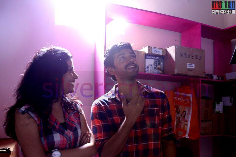 Actor Ashwin and Actress Shivada Nair at Zero Movie Shooting Spot (Or On Location) Stills