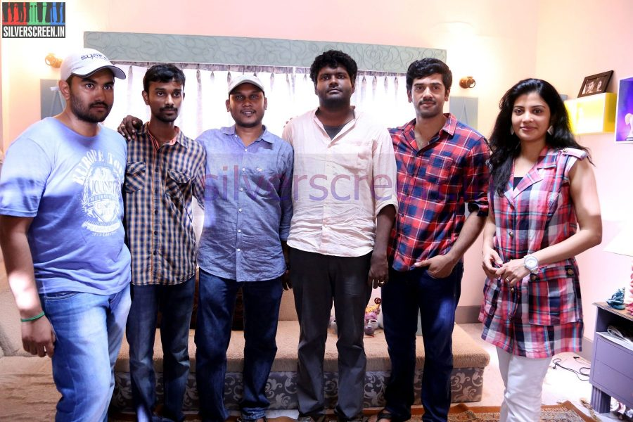 Actor Ashwin, Director V Arunkumar, Art Director Rajamohan and Actress Shivada Nair at Zero Movie Shooting Spot (Or On Location) Stills