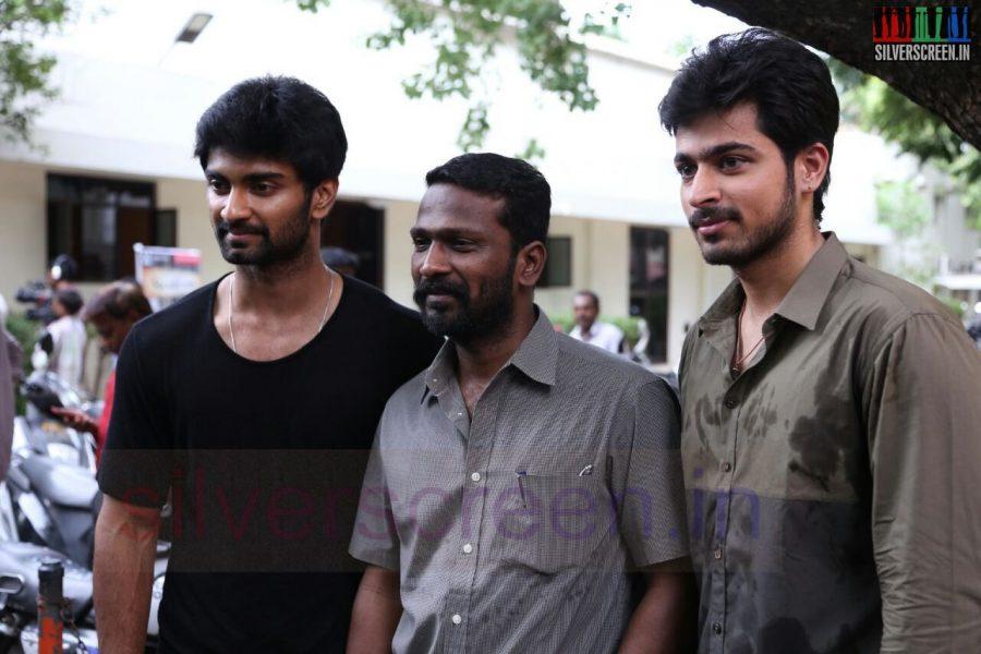 Actor Atharvaa, Harish Kalyan and Director Vetrimaaran at Poriyaalan Press Meet Stills