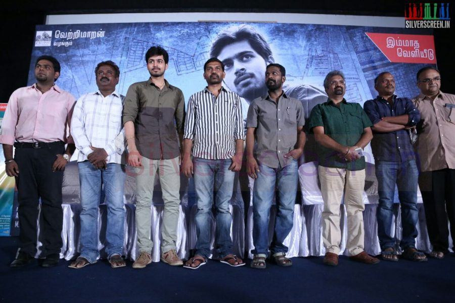 Actor Harish Kalyan, Mohan V Ram, Music Director MS Jones, Cinematographer R Velraj, Producer T Siva, Director Vetrimaaran and Thanukumar at Poriyaalan Press Meet Stills