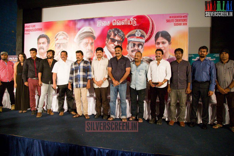 Director Badri, Bobby Simha, Harshita, Aadukalam Naren, Sean Roldan at the Aadama Jaichomada Movie Press Meet