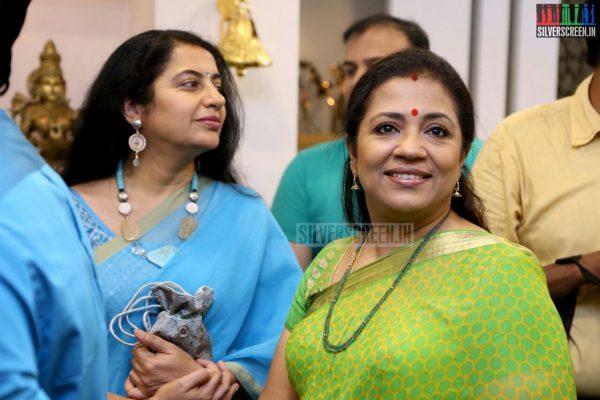 Poornima Bhagyaraj and Suhasini Mani Ratnam at the Mantra Showroom Launch Photos