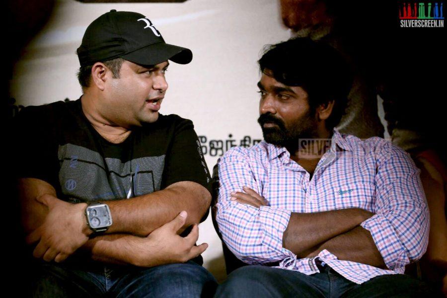 Actor Vijay Sethupathi and S Thaman at the Thilagar Audio Launch Photos