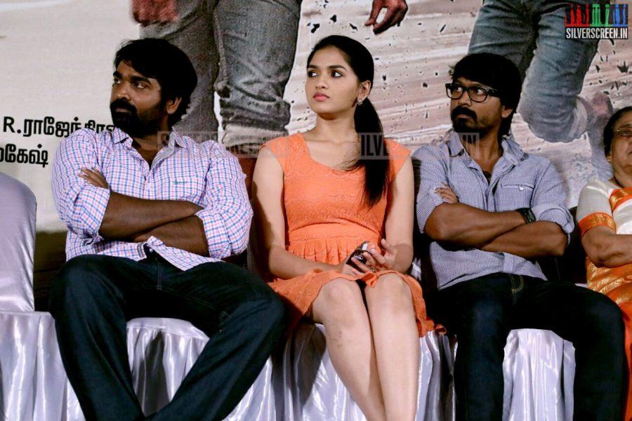 Actor Kreshna, Vijay Sethupathi and Sunaina at the Vanmam Press Meet