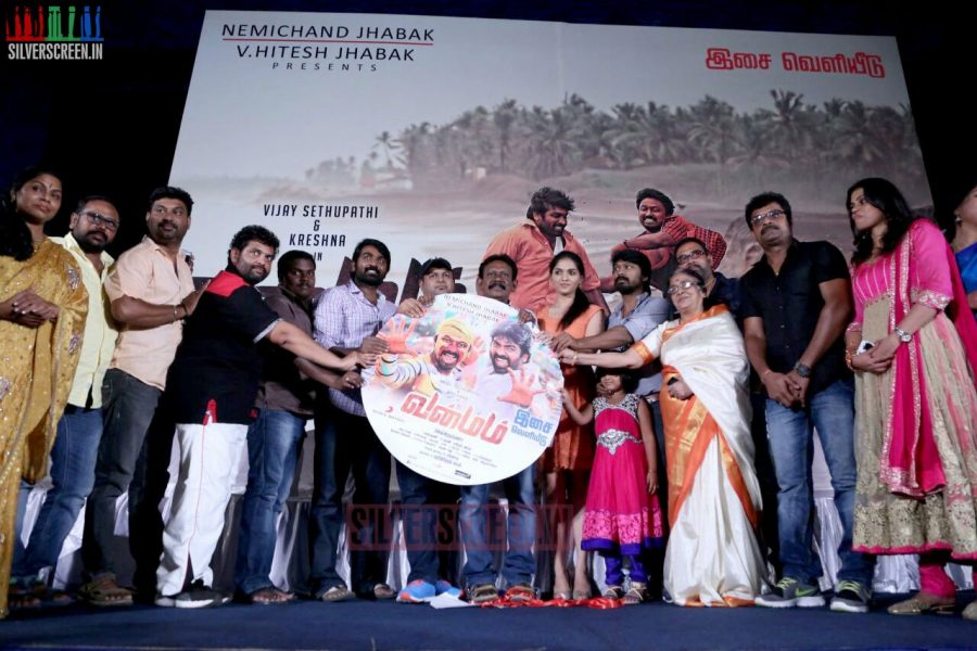 Actor Kreshna, Vijay Sethupathi, S Thaman and Sunaina at the Vanmam Press Meet