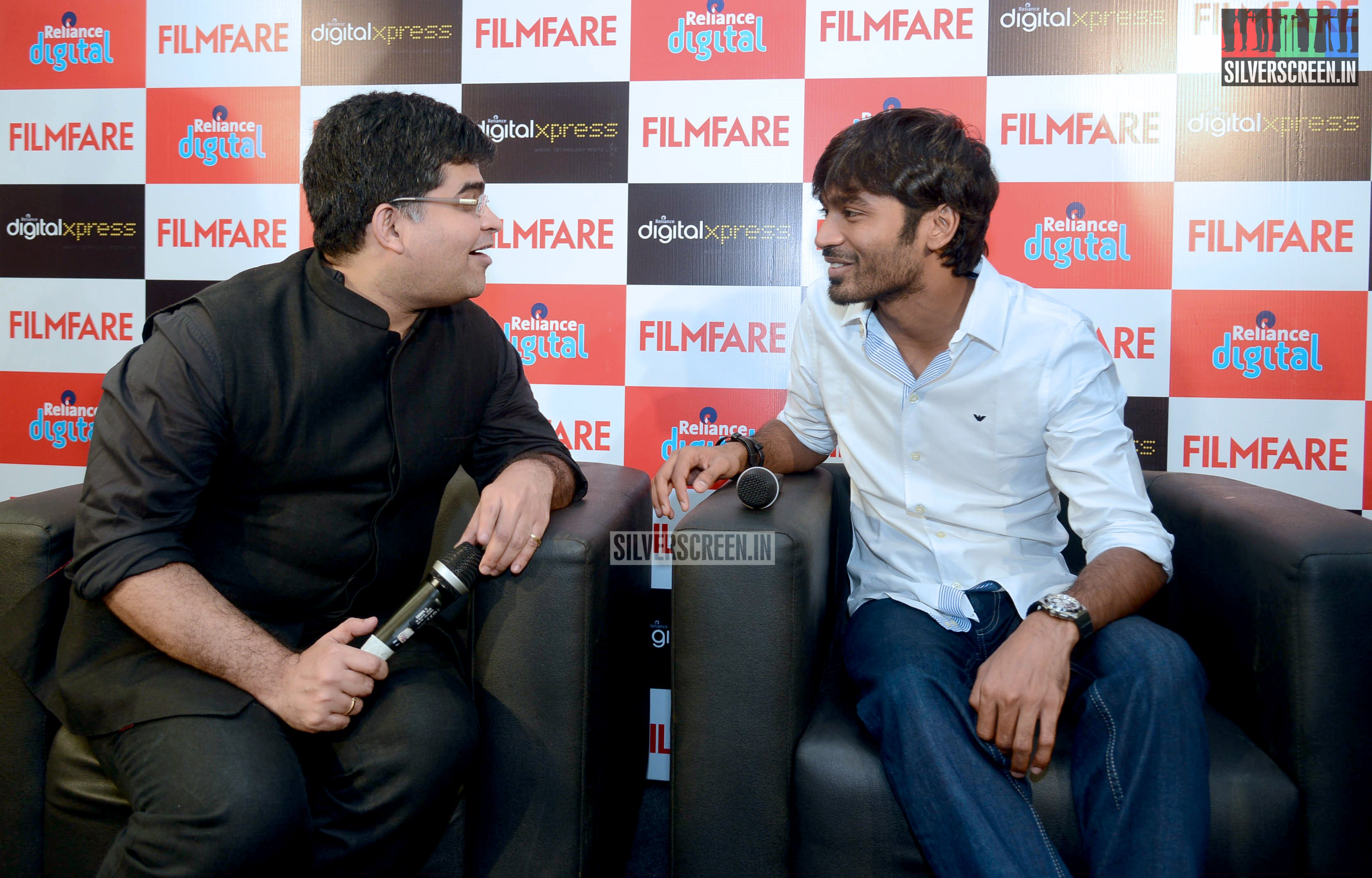 dhanush at the filmfare meet and greet stills. Black Bedroom Furniture Sets. Home Design Ideas