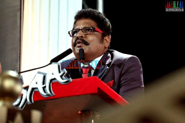 KS Ravikumar delivers a speech at the Lingaa Movie Audio Launch
