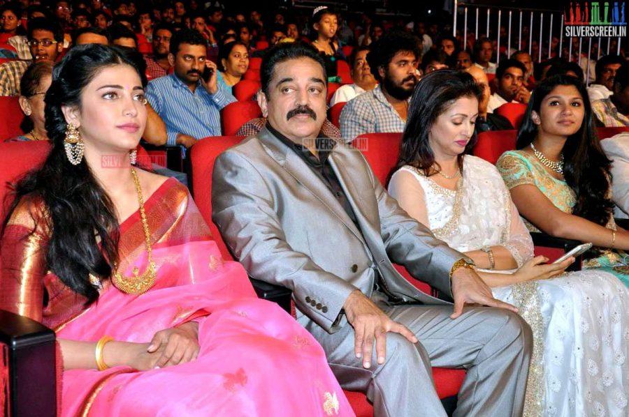 Kamal Haasan, Gouthami and Shruti Haasan at the Uttama Villain Telugu Audio Launch Photos