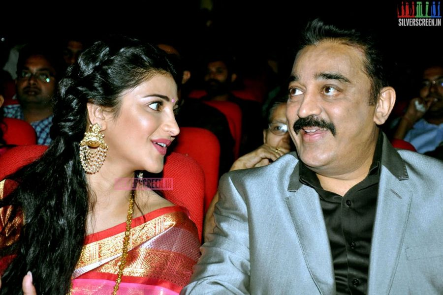 Kamal Haasan and Shruti Haasan at the Uttama Villain Telugu Audio Launch Photos