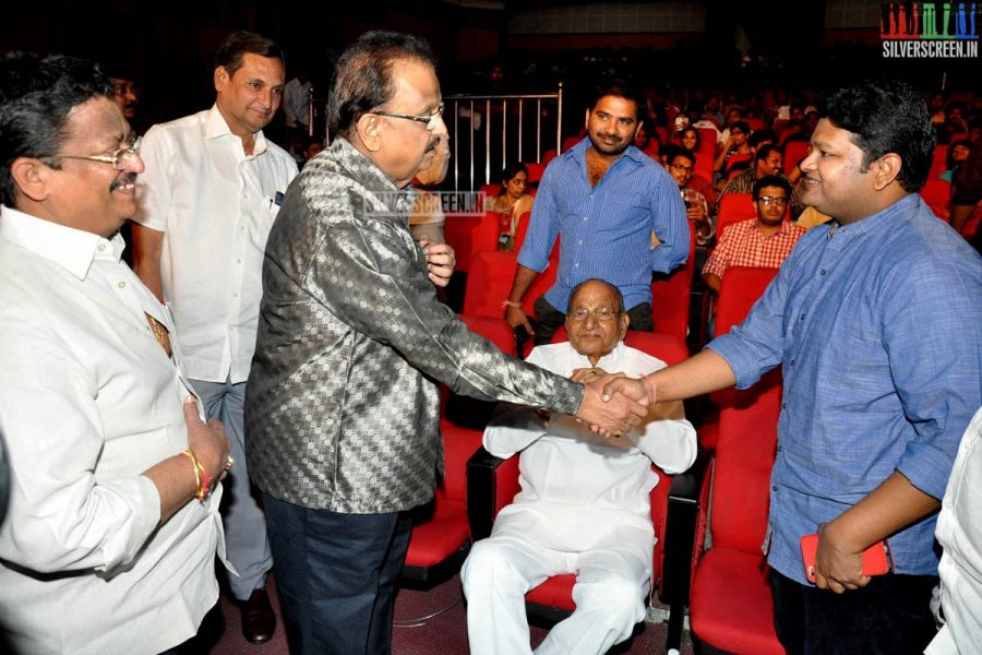 K Viswanathan and SP Balasubrahmanyam at the Uttama Villain Telugu Audio Launch Photos
