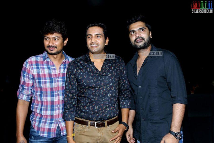 Udhayanidhi Stalin, Simbu and Santhanam at the Inimey Ippadithaan Audio Launch