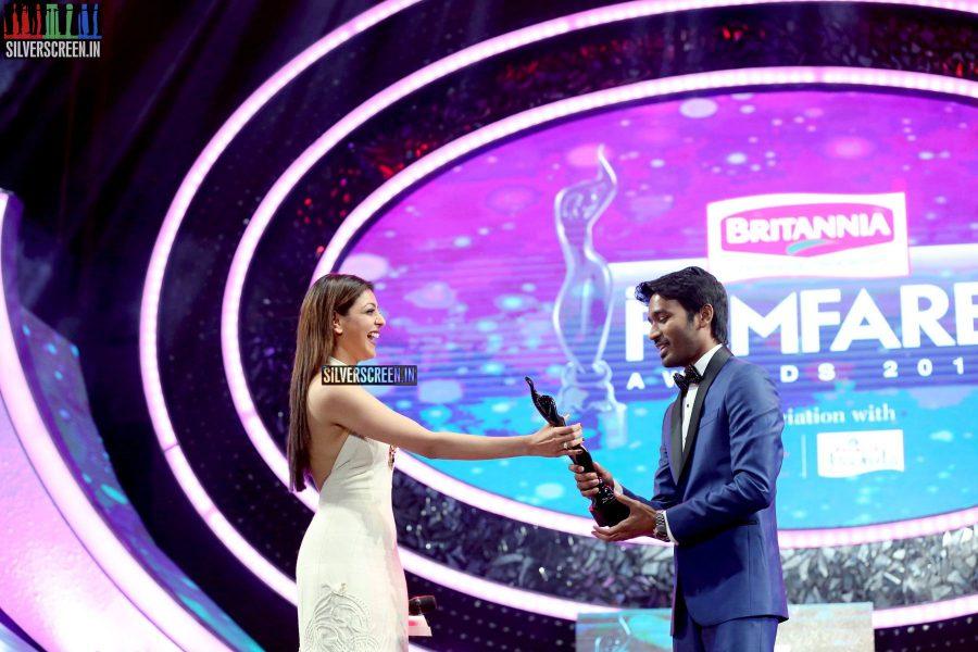 Kajal Aggarwal and Dhanush at the 62nd Filmfare Awards South Photos
