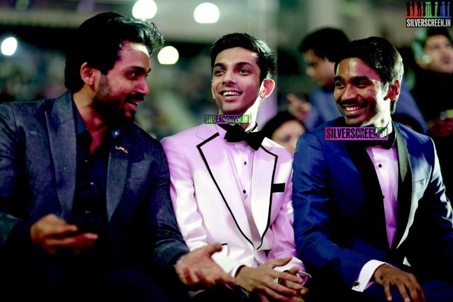 Anirudh Ravichander, Karthi and Dhanush at the 62nd Filmfare Awards South Photos