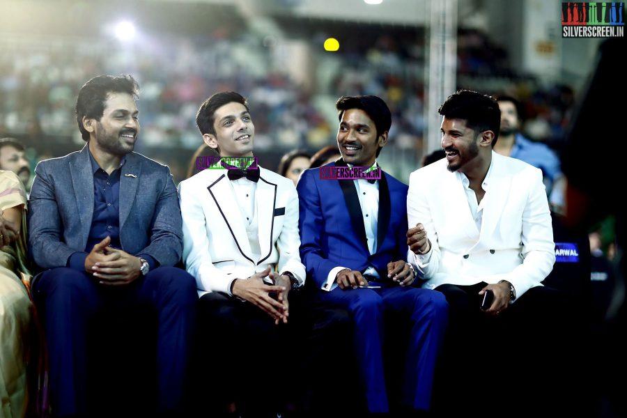Karthik, Anirudh Ravichander, Dhanush and Vijay Yesudas at the 62nd Filmfare Awards South Photos