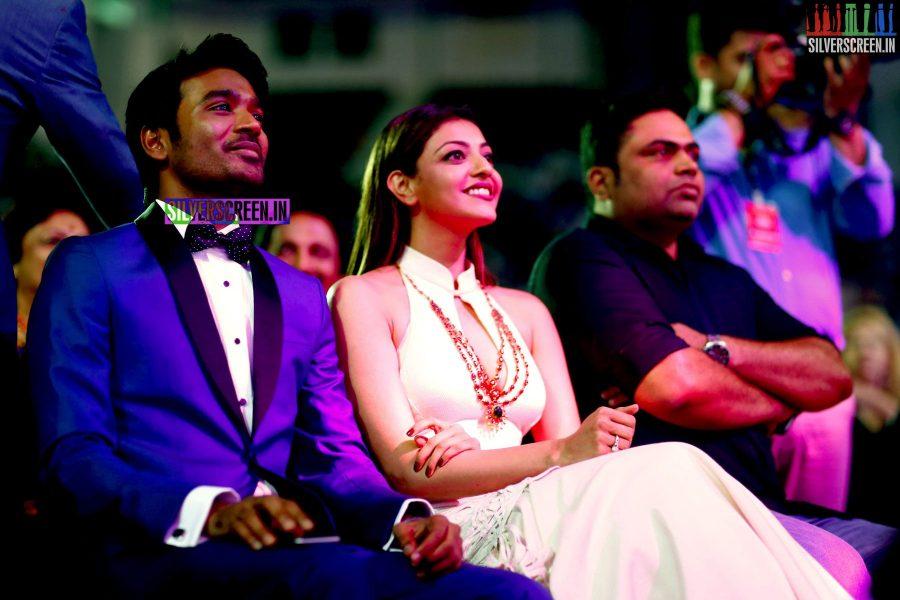 Dhanush and Kajal Aggarwal at the 62nd Filmfare Awards South Photos