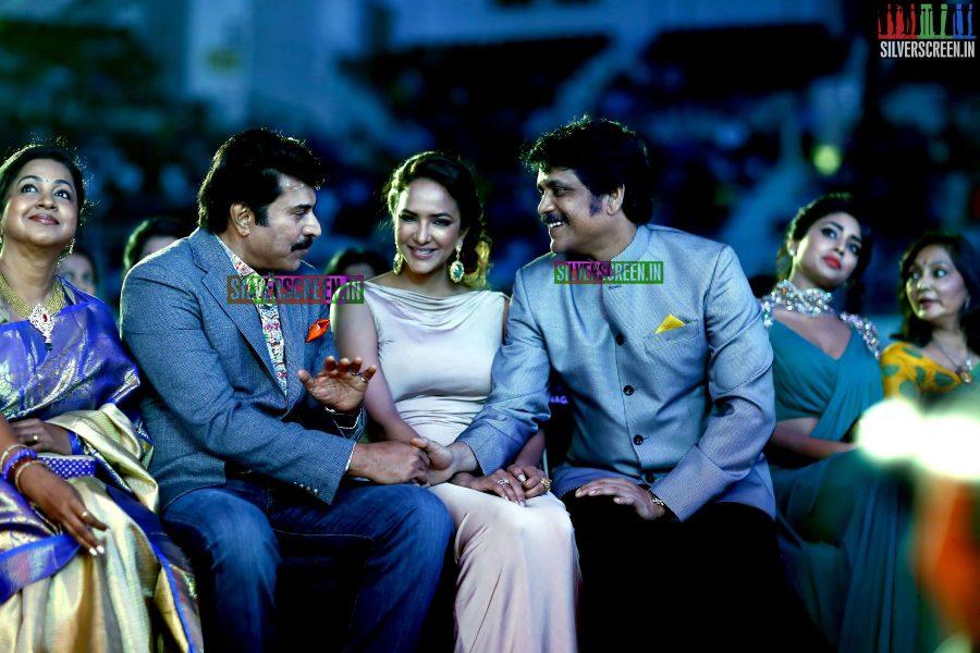 Lakshmi Manchu, Mammootty, Nagarjuna, Radhika Sarathkumar at the 62nd Filmfare Awards South Photos