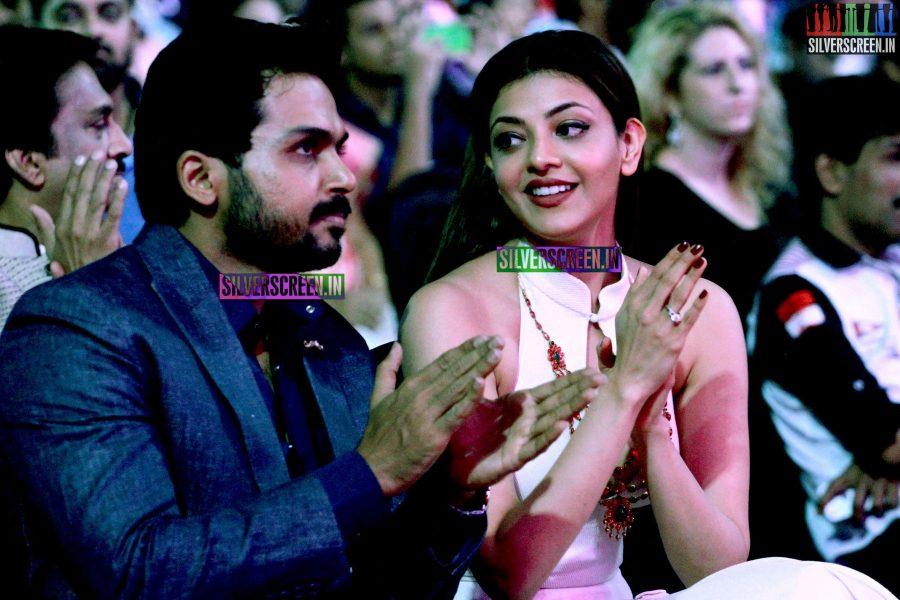 Karthi Sivakumar and Kajal Aggarwal at the 62nd Filmfare Awards South Photos