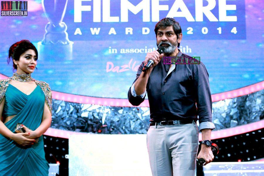 Jagapati Babu and Shriya Saran at the 62nd Filmfare Awards South Photos