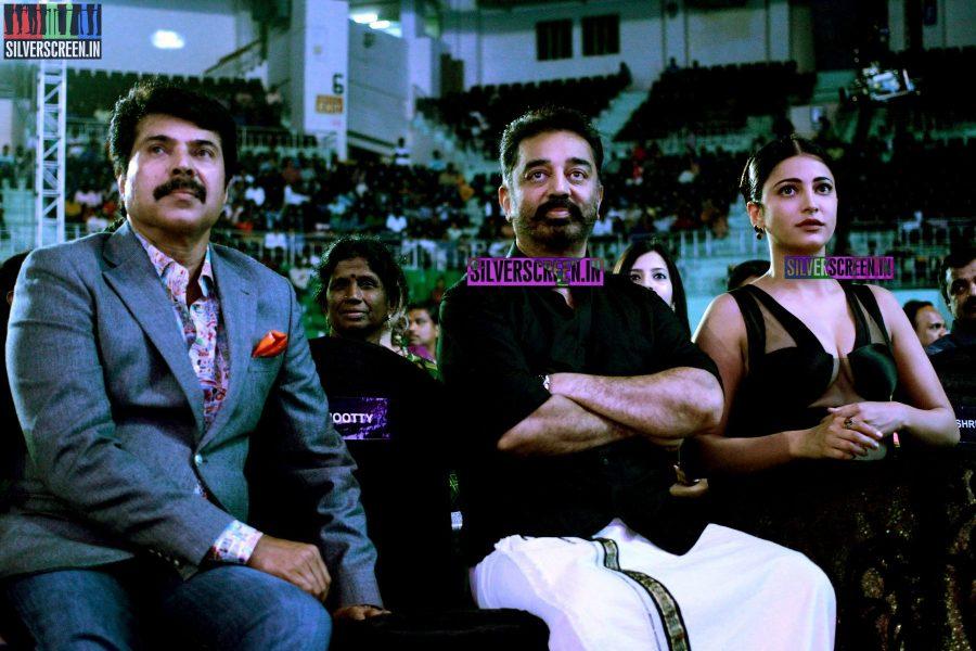 Shruti Haasan, Mammootty and Kamal Haasan at the 62nd Filmfare Awards South Photos